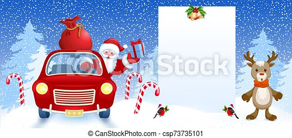 Cartoon deer and Santa Claus in retro car wit gift box anr big Christmas bag rides near billboard for layout congratulation or letter with list wish to Santa Claus - csp73735101
