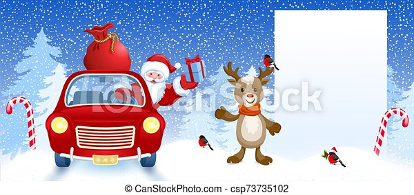 Cartoon deer and Santa Claus in retro car wit gift box anr big Christmas bag rides near billboard for layout congratulation or letter with list wish to Santa Claus - csp73735102