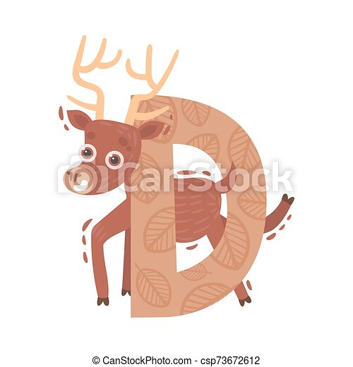 Cartoon deer with the letter D. Vector illustration on a white background. - csp73672612