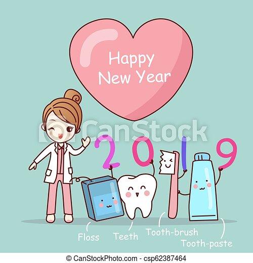cartoon dentist with 2019 csp62387464