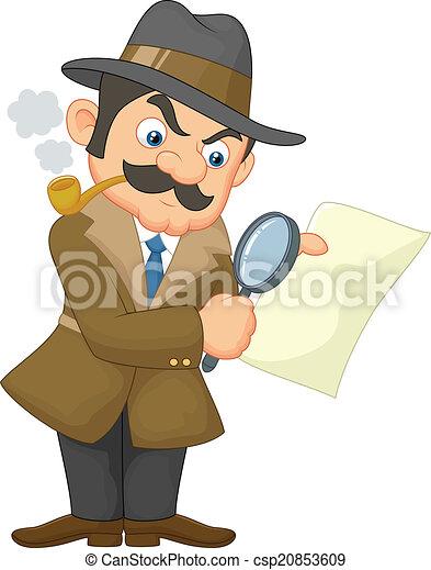 Cartoon Detective Man  - csp20853609