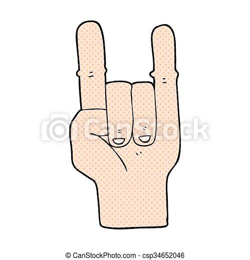 Freehand Drawn Cartoon Devil Horns Hand Symbol