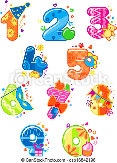 Cartoon digits and numbers with toys - csp16842196