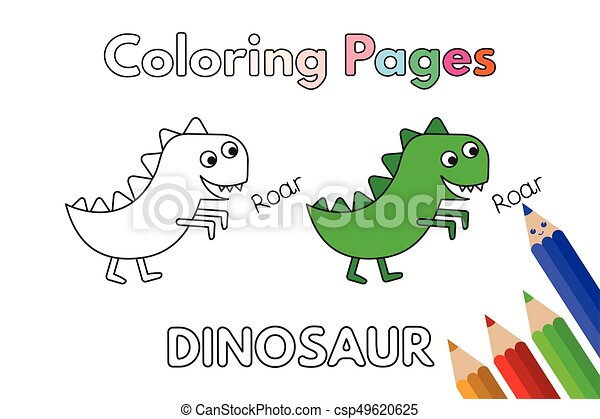 Cartoon Dinosaur Coloring Book - csp49620625