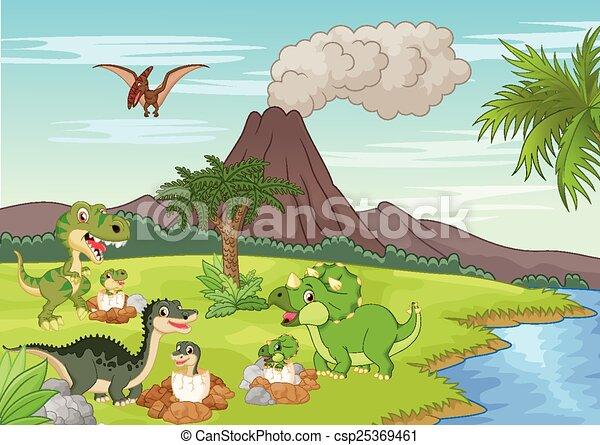 Cartoon dinosaur nesting ground - csp25369461