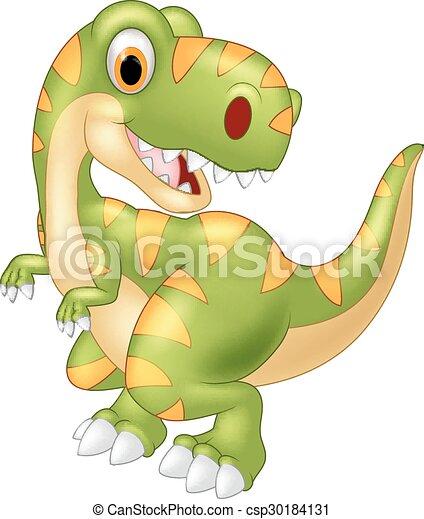 Cartoon dinosaur posing - csp30184131