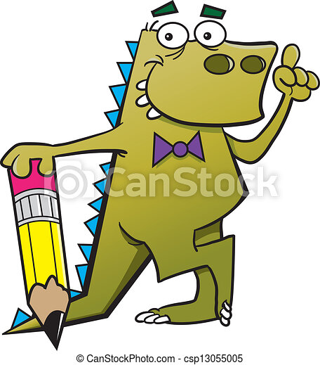 Cartoon dinosaur with a pencil and - csp13055005