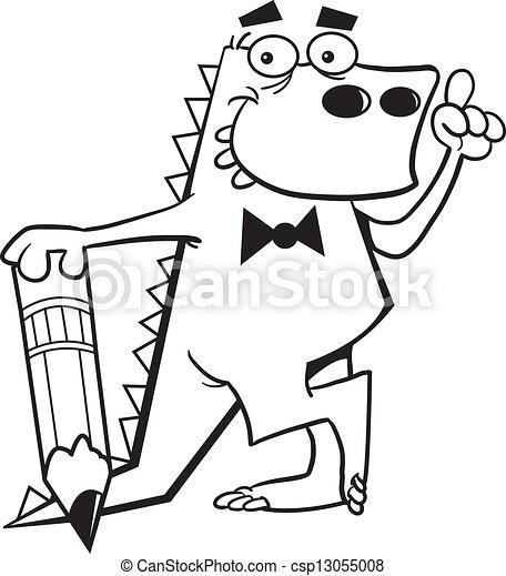 Cartoon dinosaur with a pencil and - csp13055008