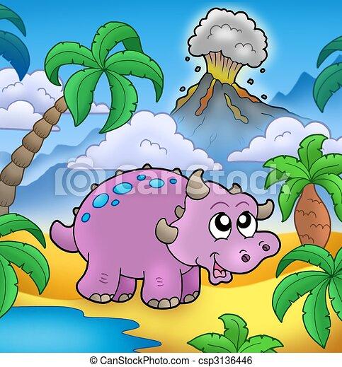 Cartoon dinosaur with volcano - csp3136446