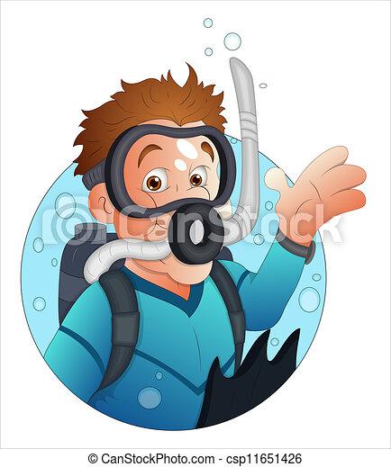 Cartoon Diver Character - csp11651426