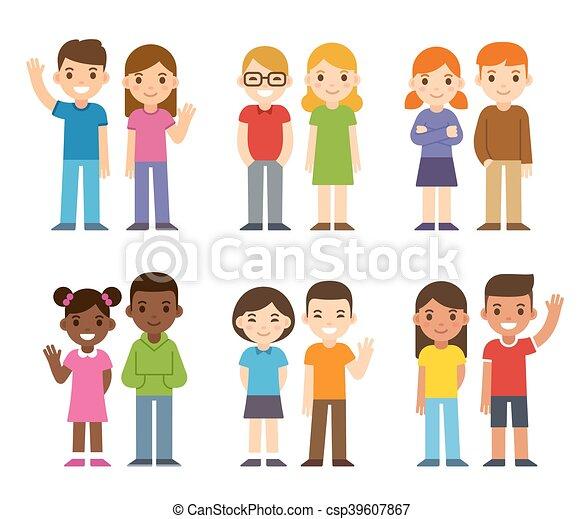 Cartoon diverse children - csp39607867