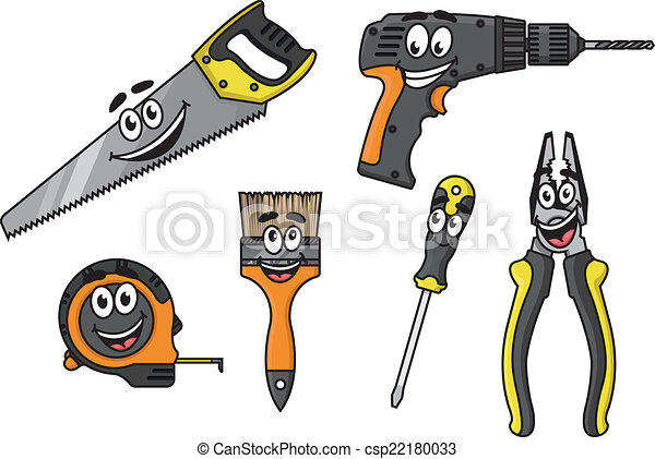 Cartoon Diy Tools Characters Cartoon Happy Diy Tools