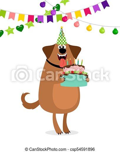 Cartoon Dog And Cake Birthday Card
