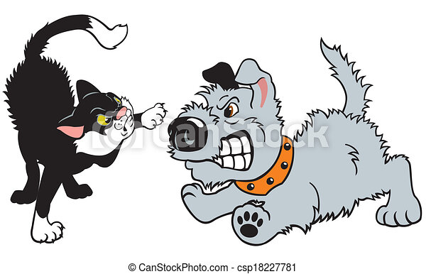 Drawing Of A Dog And Cat Fighting
