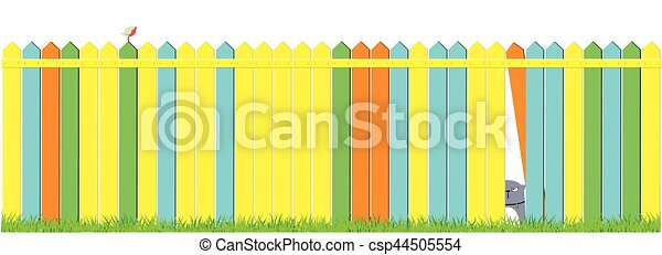 Cartoon Dog And Cat On Colorful The Fence Cute Pets Background Banner
