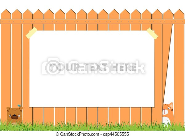 Clipart Vector Of Cartoon Dog And Cat On The Fence Cute Pets - Cartoon fence clip art