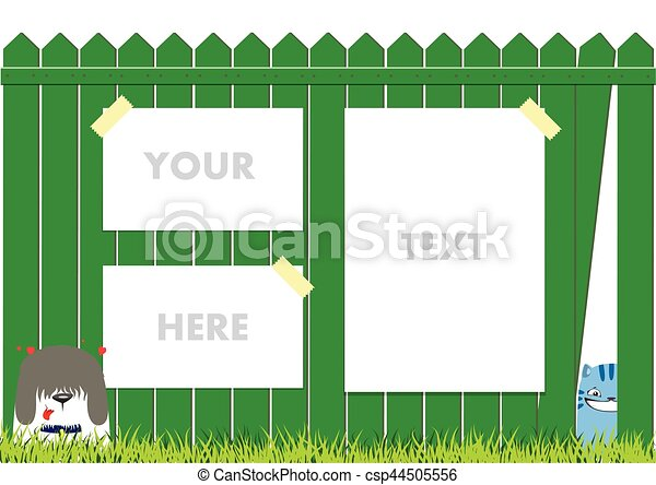 Clipart Vector Of Cartoon Dog And Cat On The Green Fence On Blue - Cartoon fence clip art