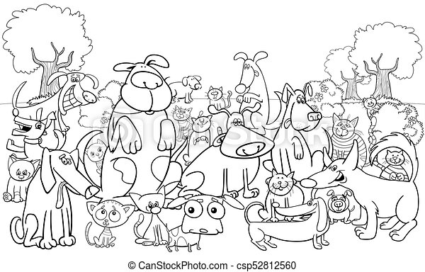 Cartoon dog and cats characters color book. Black and white cartoon ...