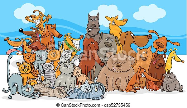 cartoon dog and cats characters group - csp52735459