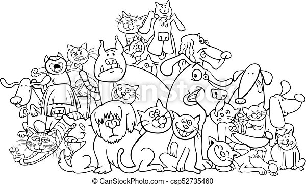 Cartoon dog and cats coloring book. Black and white cartoon ...