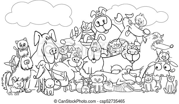 Cartoon Dog And Cats Pet Group Color Book Black And White