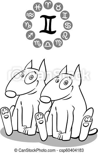f2b9d994d Cartoon dog as gemini zodiac sign. Cartoon illustration of funny dog ...