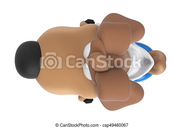 Cartoon Dog Character Scooter Top View