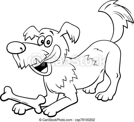 Cartoon Dog Character With Bone Color Book Page Black And White Cartoon Illustration Of Happy Playful Dog Comic Animal