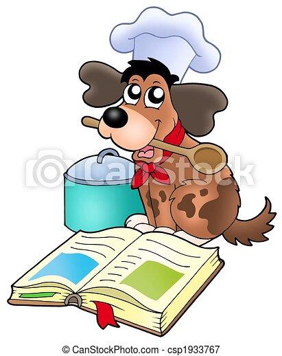 Cartoon dog chef with recipe book - csp1933767
