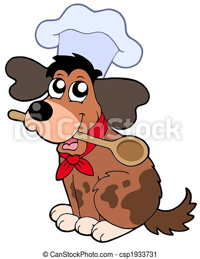 Cartoon dog chef with spoon - csp1933731
