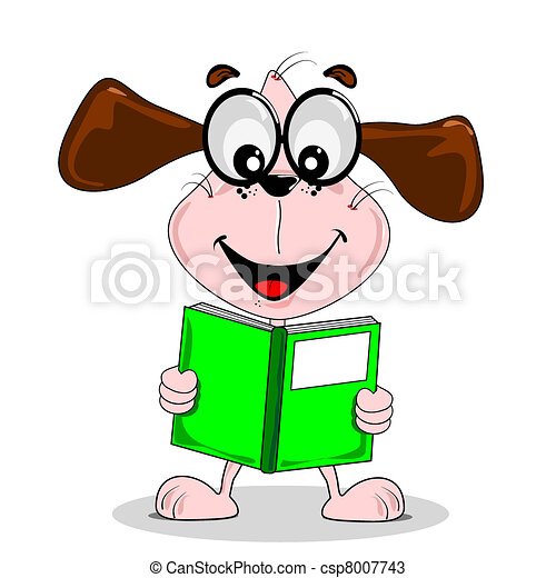 cartoon dog with glasses reading a book with copy space rh canstockphoto com cartoon dog with big glasses yellow cartoon dog with glasses