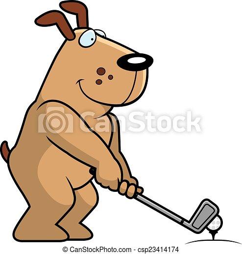 cartoon dog golfing csp23414174