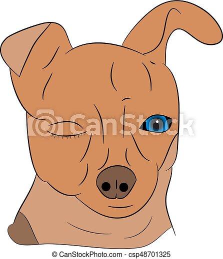 Cartoon dog head on a white background. - csp48701325