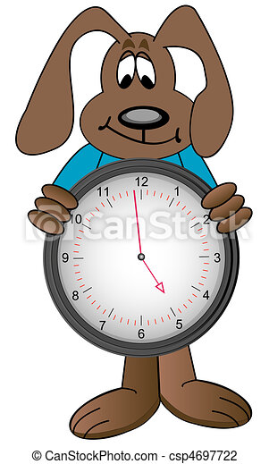 Cartoon dog holding clock with time showing one minute to clip cartoon dog holding clock with time csp4697722 publicscrutiny Image collections