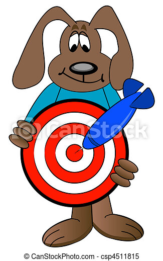 Cartoon Dog Holding Target