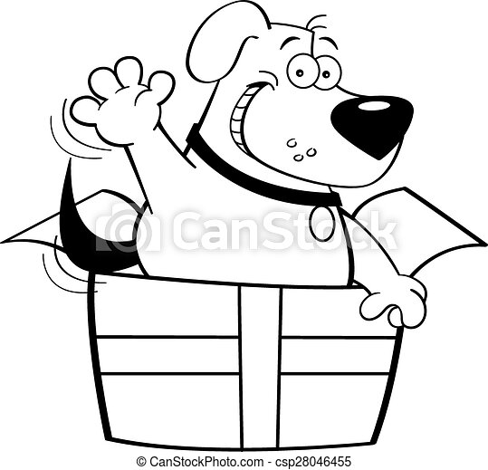 Cartoon Dog Inside A Gift Box Black And White Illustration Of A Dog