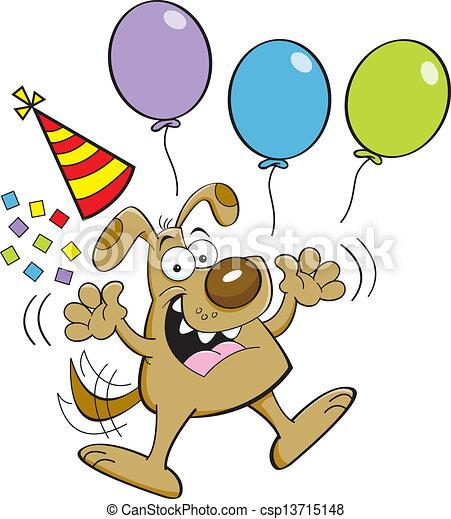 Cartoon dog jumping with balloons - csp13715148