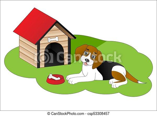 Cartoon Dog Next To Dog House Canstock