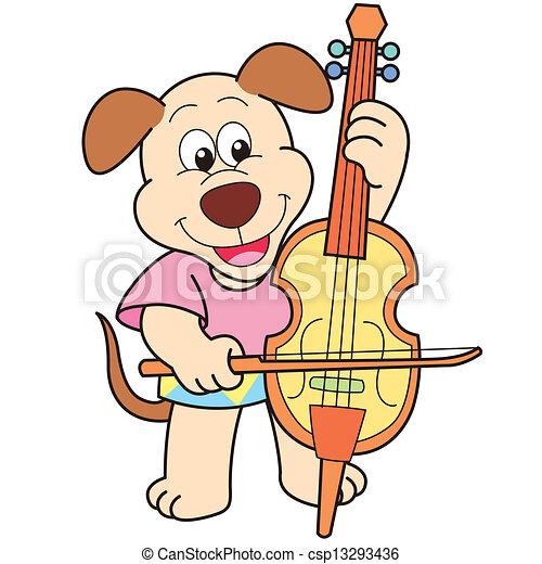 cartoon dog playing a cello csp13293436