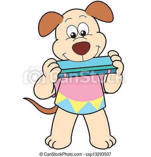 cartoon dog playing a harmonica csp13293507