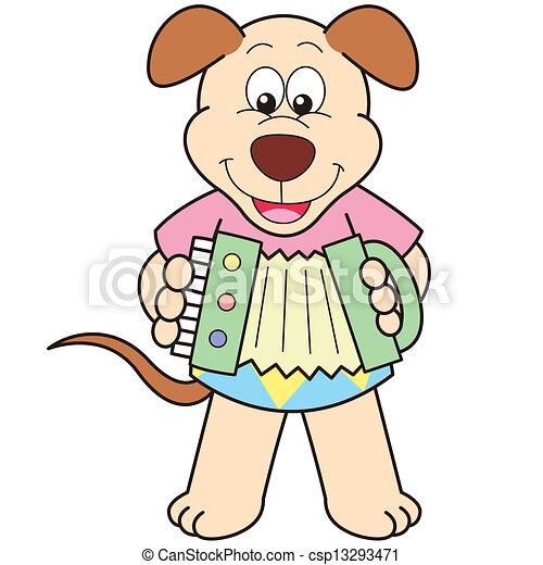 cartoon dog playing an accordion csp13293471