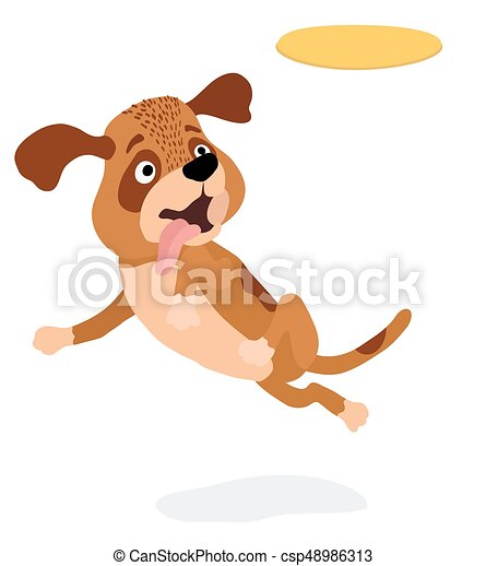 cartoon dog playing with yellow plastic disc vector illustration