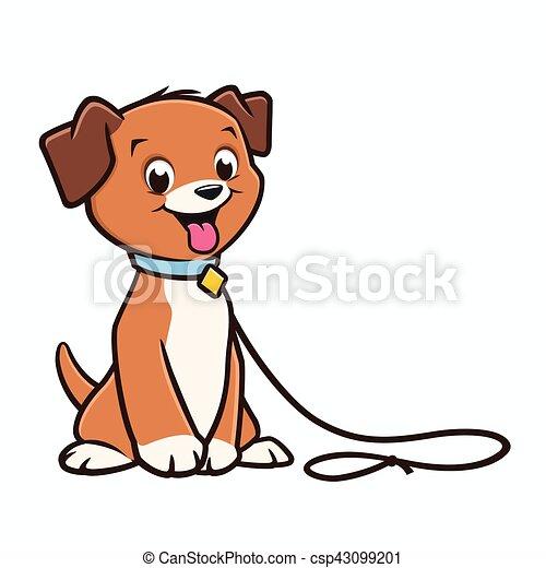 cartoon dog puppy vector cartoon cute puppy on a leash vector rh canstockphoto com puppy vector clipart puppy vector clipart