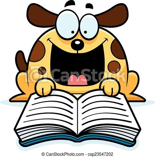 cartoon dog reading a cartoon illustration of a dog reading rh canstockphoto com Teacher Reading Clip Art Teacher Reading Clip Art
