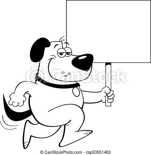 Cartoon Dog Running And Holding A Sign Black And White Illustration