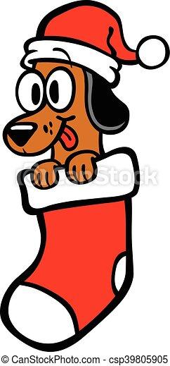 Cartoon Dog Santa Hat Christmas Sto - csp39805905