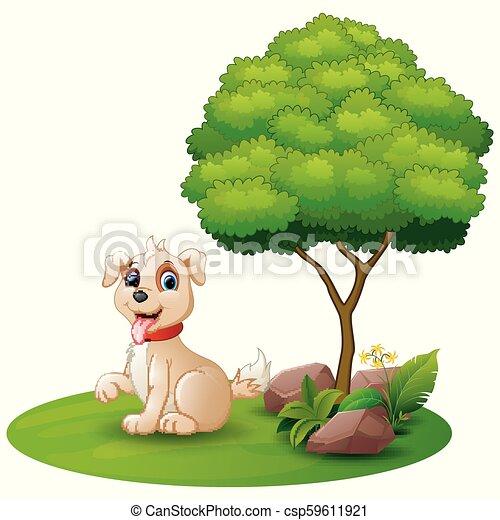 Cartoon dog sitting under a tree on a white background - csp59611921