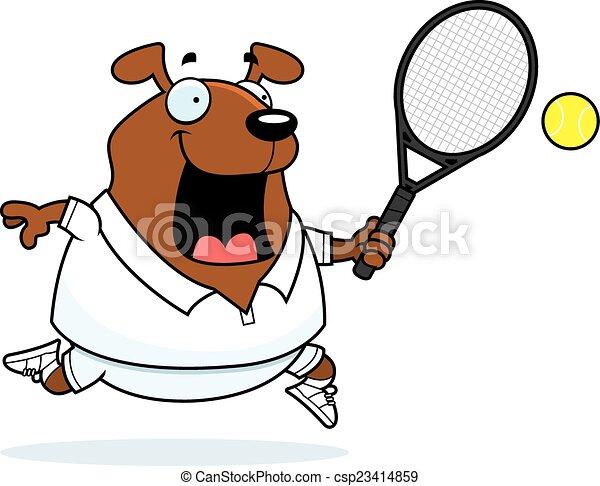 cartoon dog tennis csp23414859