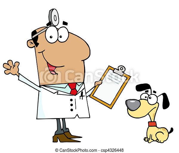 Cartoon Dog Veterinarian Man  - csp4326448