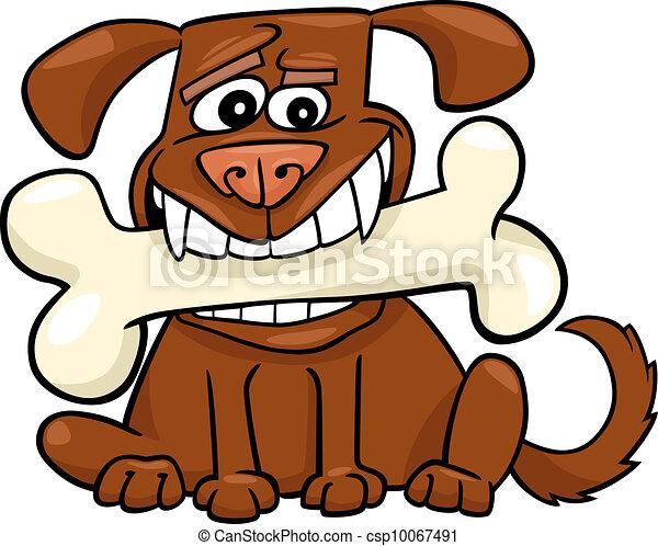 Cartoon Dog with big bone - csp10067491